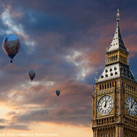 Buy canvas prints of Big Ben and Hot Air Baloons by David Tyrer