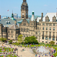 Buy canvas prints of Sheffield Peace Gardens by David Yeaman