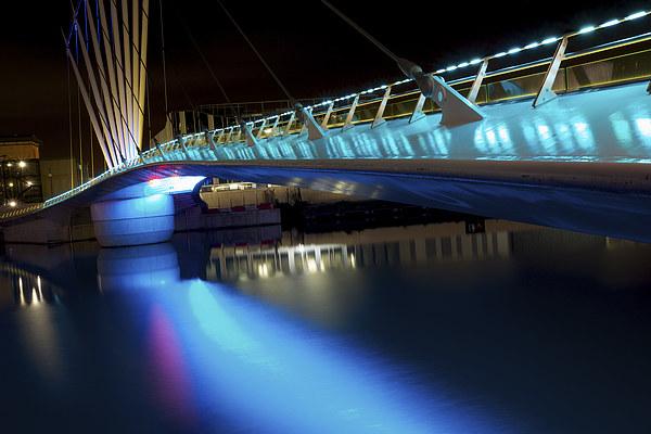 Bridge at Media City Canvas Print by David Yeaman