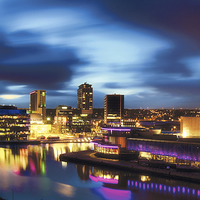 Buy canvas prints of Salford Quays at Night by David Yeaman
