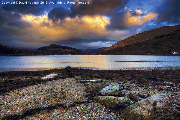 Sunset on Loch Long Canvas Print by David Yeaman