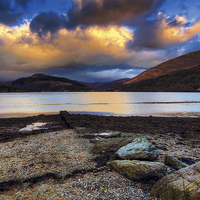 Buy canvas prints of Sunset on Loch Long by David Yeaman