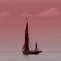 Buy canvas prints of Red Sails at Sunset by Pauline Tims