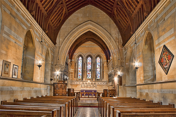 St James The Great Titsey - Nave Canvas print by Dave Godden