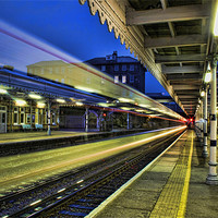 Buy canvas prints of The Train Now Arriving by Dave Godden