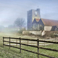 Buy canvas prints of Wouldham Church In The Fog by Dave Godden