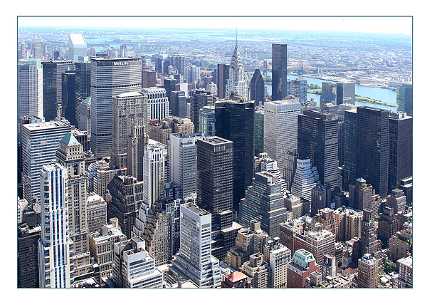 Manhattan from Empire State Building Framed Mounted Print by Philip Pound