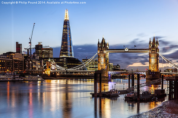 Tower Bridge and the Shard At Night Canvas print by Philip Pound