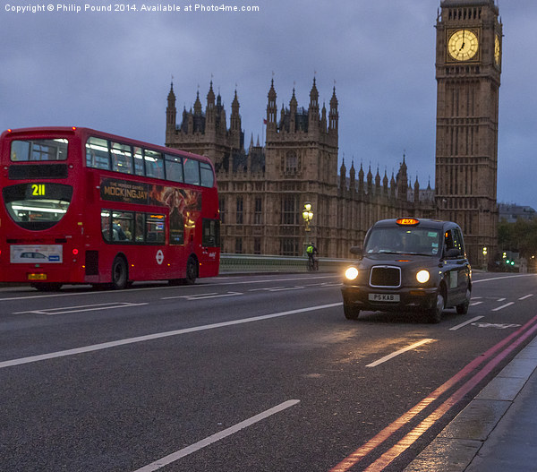London Bus and Taxi with Big Ben Canvas print by Philip Pound