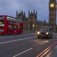 Buy canvas prints of  London Bus and Taxi with Big Ben by Philip Pound