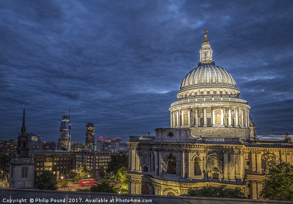 St Paul's Cathedral in London at Night Framed Mounted Print by Philip Pound
