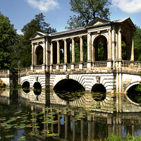 Buy canvas prints of The Palladian Bridge at Stowe by Ian Lewis