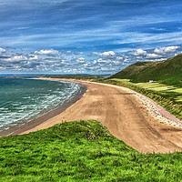 Buy canvas prints of Rhossili Bay On The Gower Peninsula by Ian Lewis