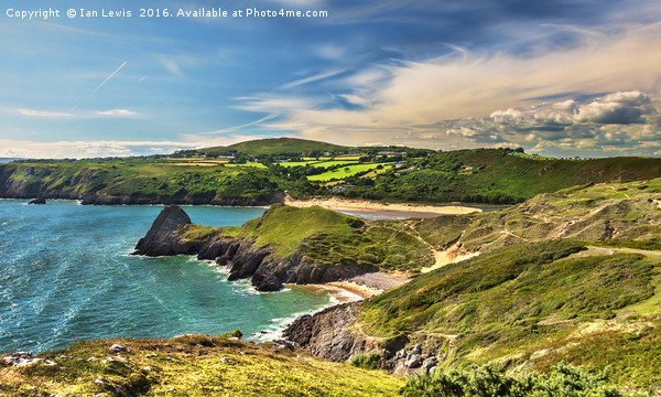 View Over Three Cliffs Bay Canvas print by Ian Lewis