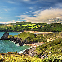 Buy canvas prints of View Over Three Cliffs Bay by Ian Lewis