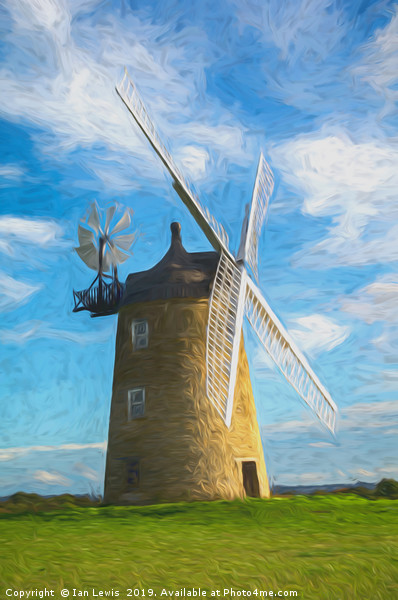 Great Haseley Windmill Impressionist Style Canvas print by Ian Lewis