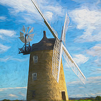 Buy canvas prints of Great Haseley Windmill Impressionist Style by Ian Lewis