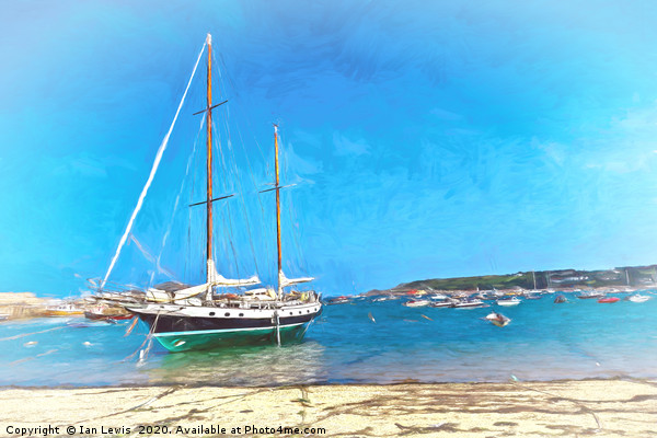Anchored at the Scillies Canvas print by Ian Lewis