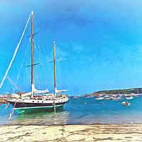 Buy canvas prints of Anchored at the Scillies by Ian Lewis