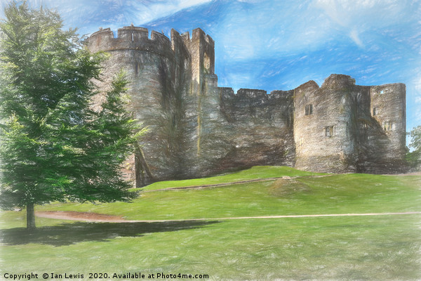 Chepstow Castle Towers Art Canvas print by Ian Lewis