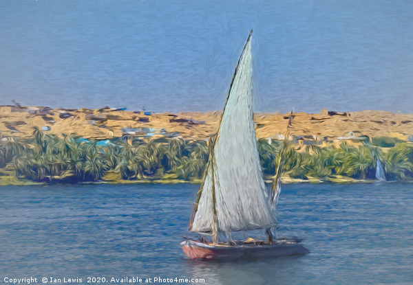 Egyptian Felucca On The Nile Canvas print by Ian Lewis