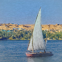 Buy canvas prints of Egyptian Felucca On The Nile by Ian Lewis