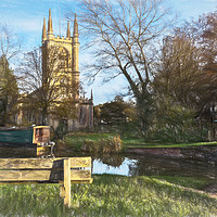 Buy canvas prints of Church By The Canal Hungerford Art by Ian Lewis