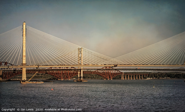 Three Bridges Over The Forth Print by Ian Lewis