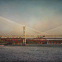 Buy canvas prints of Three Bridges Over The Forth by Ian Lewis