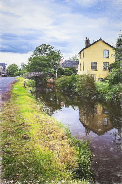 Approaching Brecon By Canal Digital Art Framed Mounted Print by Ian Lewis