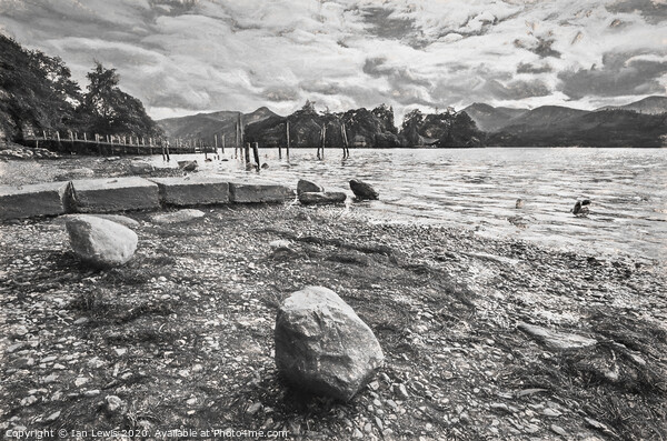 Rocky Derwentwater Shore Framed Mounted Print by Ian Lewis