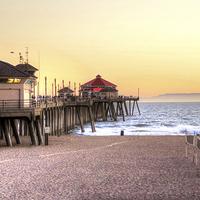 Buy canvas prints of Huntington Beach Pier by Debra Souter