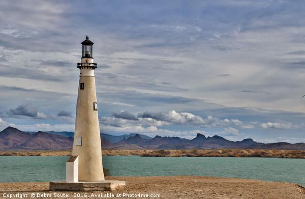 Lighthouse on Lake Havasu Canvas print by Debra Souter