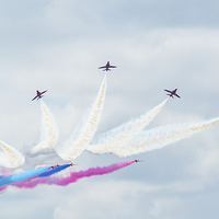Buy canvas prints of  Red Arrows Display team by Andrew Richards