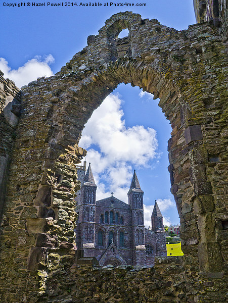 St Davids Cathedral, through Bishops Palace Canvas print by Hazel Powell