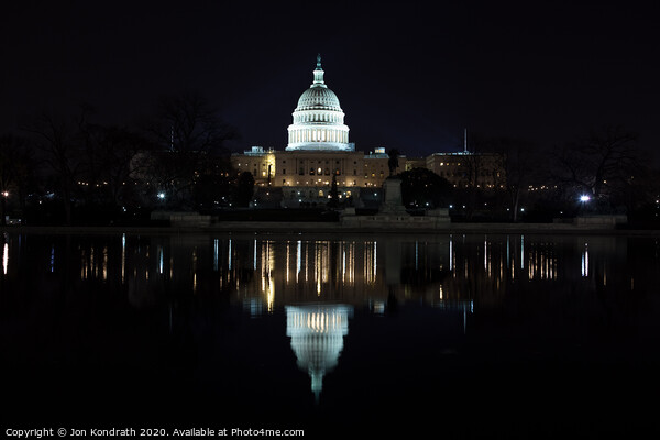US Capitol Building Reflection Framed Print by Jon Kondrath