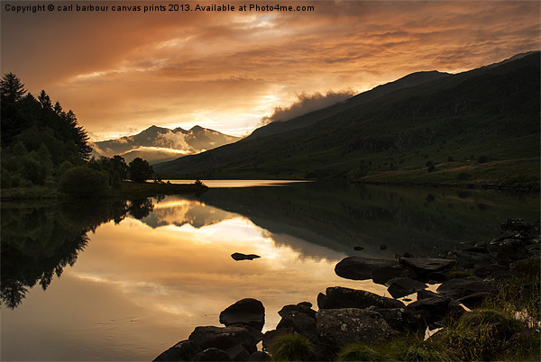 Sunset at Llynnau Mymbyr Canvas print by carl barbour canvas prints