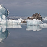 Buy canvas prints of Iceberg reflection with RIB boat by mark humpage