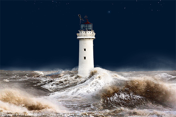 T`was on a night like this. (stormy sea) Canvas print by Rob Lester