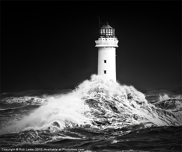 "New Brighton lighthouse, "" Facing the storm"" Canvas print by Rob Lester"