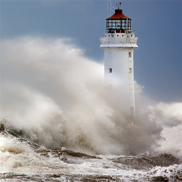 New Brighton lighthouse Facing the fury Canvas print by Rob Lester