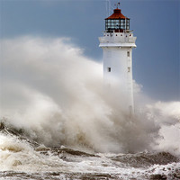 Buy canvas prints of New Brighton lighthouse Facing the fury by Rob Lester