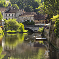 Buy canvas prints of The lazy, hazy Dronne. Dordogne by
