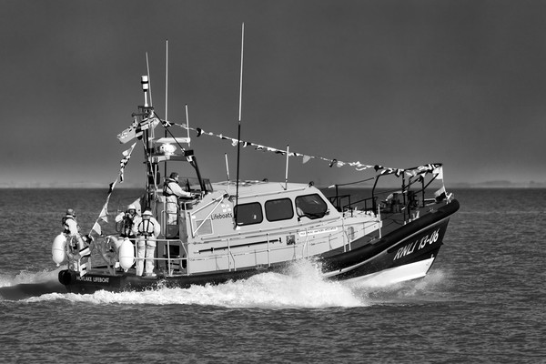 Hoylake Lifeboat at speed_mono Canvas print by Rob Lester