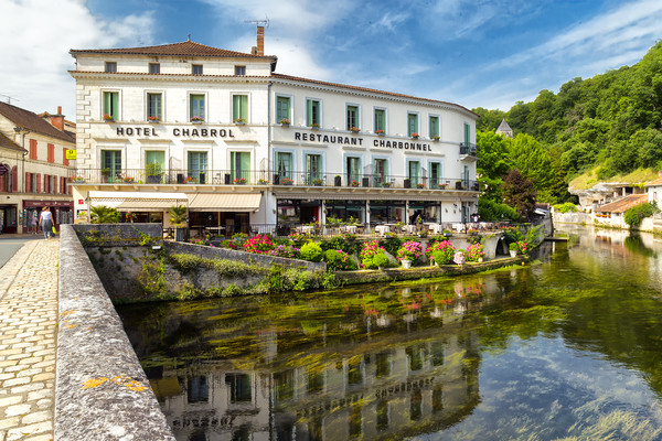 Hotel Chabrol , Brantome in the Dordogne. France Canvas print by Rob Lester