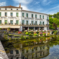 Buy canvas prints of Hotel Chabrol , Brantome in the Dordogne. France by Rob Lester