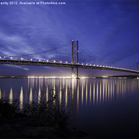 Buy canvas prints of The Forth Road Bridge in Scotland at dusk by Steve Garrity