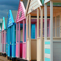 Buy canvas prints of Beach Huts in Southwold, Suffolk, England, United Kingdom by Andrew Evans