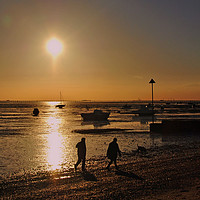 Buy canvas prints of Sunset over Thorpe Bay beach Southend on Sea by Andrew Evans