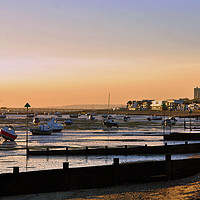 Buy canvas prints of Sunset over Thorpe Bay beach near Southend on Sea  by Andrew Evans